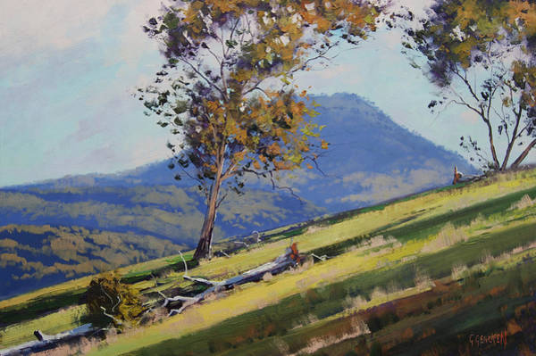 Australian Art Painting - Hillside Shadows by Graham Gercken