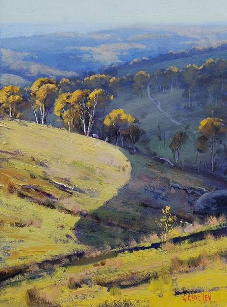 Australian Art Painting - Hillside Shadows Lithgow by Graham Gercken