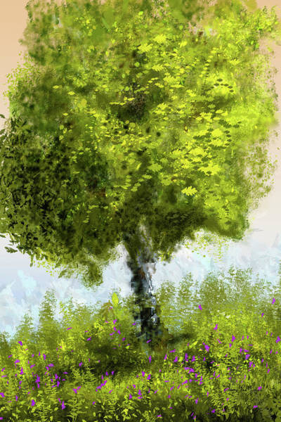 Digital Art - Hillside Tree by Barry Jones