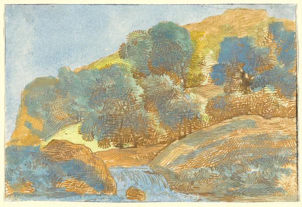 Wall Art - Drawing - Hilly Landscape With A Stream by Franz Innocenz Josef Kobell