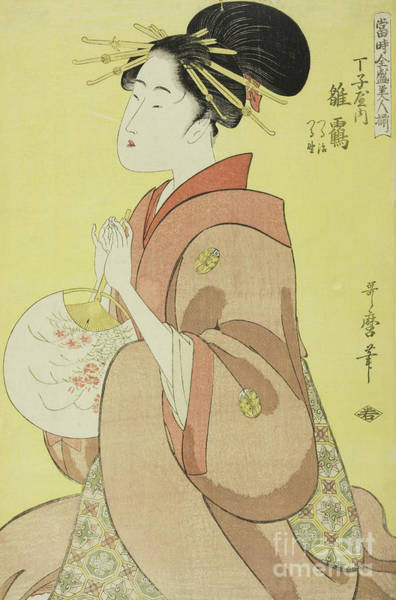 Wall Art - Painting - Hinazuru Of The Chojiya, Whose Attendants Are Tsuruji And Tsuruno by Kitagawa Utamaro