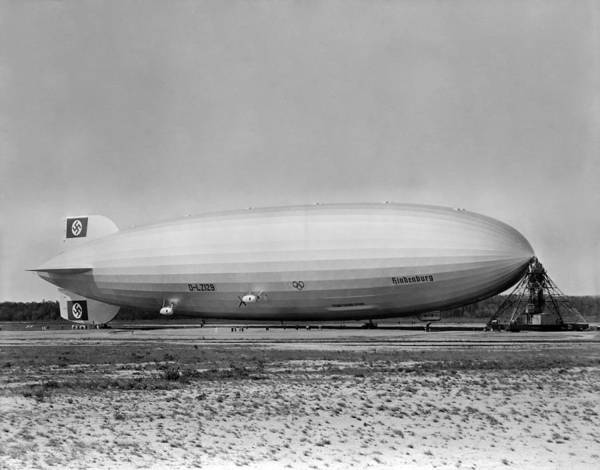 Lakehurst Photograph - Hindenburg Airship - Lakehurst Field - 1936 by War Is Hell Store