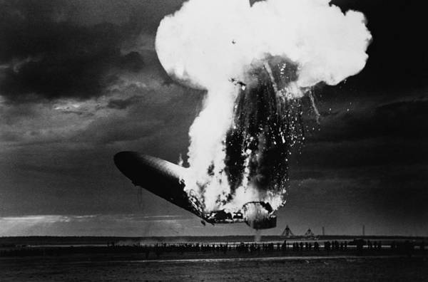 Lakehurst Photograph - Hindenburg Disaster - Zeppelin Explosion Photo by War Is Hell Store
