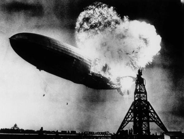 Lakehurst Photograph - Hindenburg Disaster - Zeppelin Explosion by War Is Hell Store
