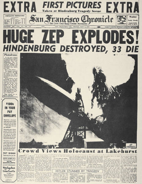 Lakehurst Photograph - Hindenburg Explodes, 1937 by Granger
