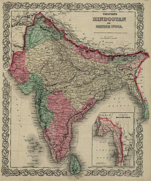 India Drawing - Hindoostan Or British India by Colton