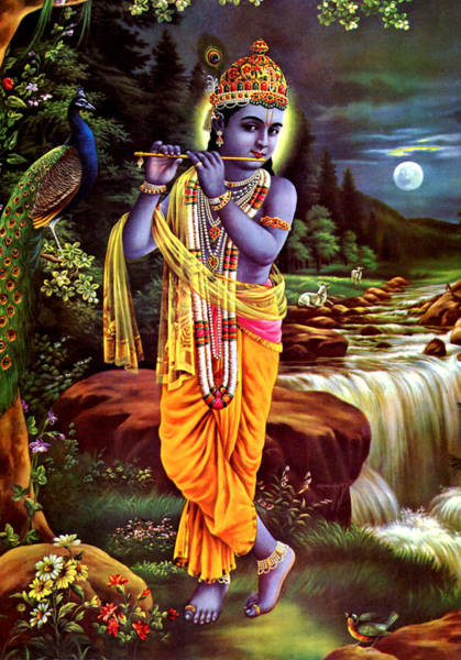 Wall Art - Mixed Media - Hindu God Lord Krishna by Magdalena Walulik
