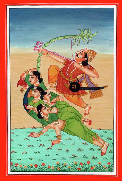 Wall Art - Painting - Hindu God Of Sexual Love Kamadeva Parrot Woman Kamasutra Folk Art Painting India Miniature Artwork by A K Mundra