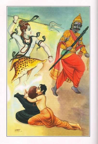 Ir Painting - Hindu God Shiva Shankar Dev Yam Painting India  by Bhagwan