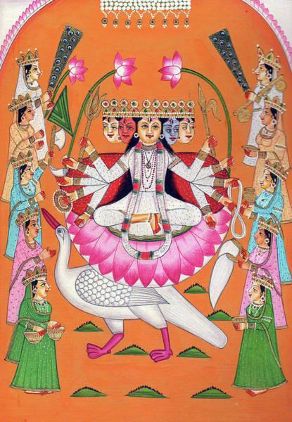 Hindu Goddess Wall Art - Painting - Hindu Goddess Savitri Mata Goddess Of Wisdom Fine Arts And Creativity  Indian Miniature Painting by Ravi Sharma