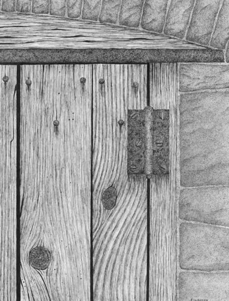 Rust Drawing - Hinge/door Detail by Ed Einboden