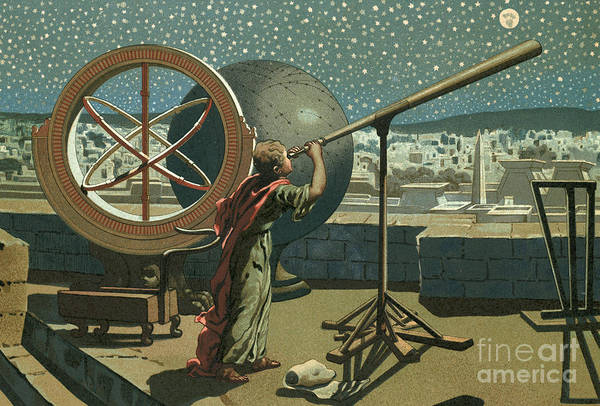 Orb Painting - Hipparchus In The Observatory In Alexandria by Josep or Jose Planella Coromina