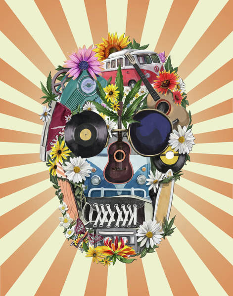 Psychedelic Image Painting - Hippie Retro Skull 2 by Bekim Art