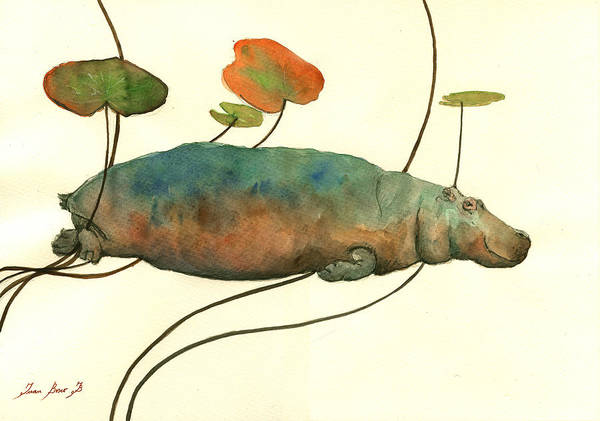 Wall Art - Painting - Hippo Swimming With Water Lilies by Juan  Bosco
