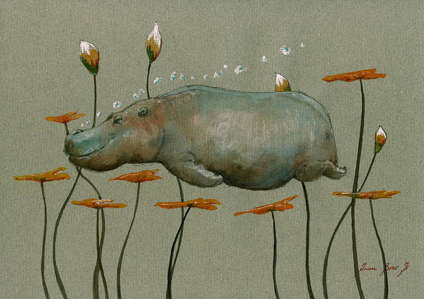 Wall Art - Painting - Hippo Underwater by Juan  Bosco