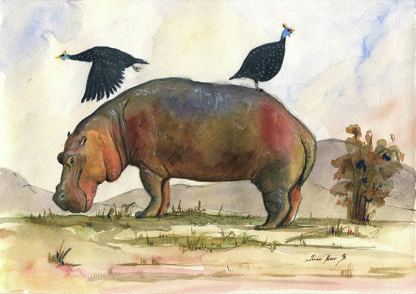 Wall Art - Painting - Hippo With Guineafowls by Juan Bosco