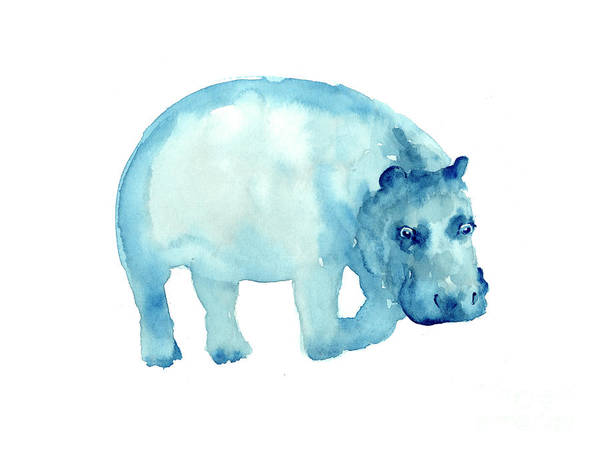 Hippopotamus Painting - Hippopotamus Watercolor Art Print Painting by Joanna Szmerdt