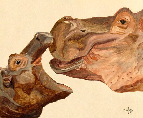 Hippopotamus Amphibius Wall Art - Painting - Hippos Watercolor by Angeles M Pomata