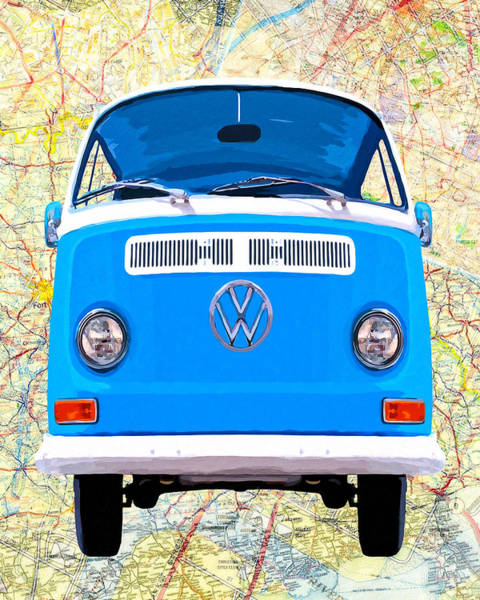 Mixed Media - Hippy Van Travels - Classic Vw Bus by Mark Tisdale