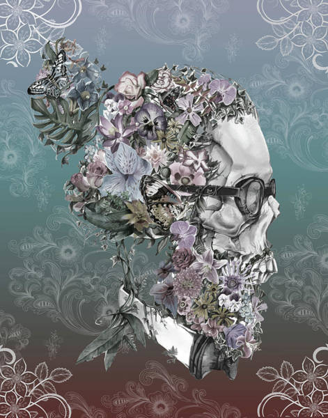 Mustache Painting - Hipster Floral Skull 2 by Bekim M