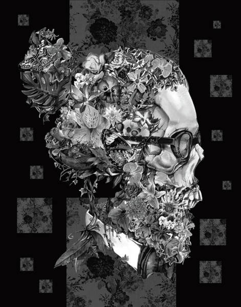 White Zombie Painting - Hipster Floral Skull 3 by Bekim Art