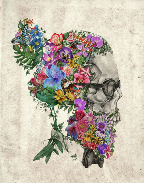 Mustache Painting - Hipster Floral Skull by Bekim M