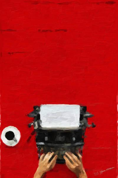 Digital Art - Hipster Worlds - Black Typewriter Over Red by Serge Averbukh