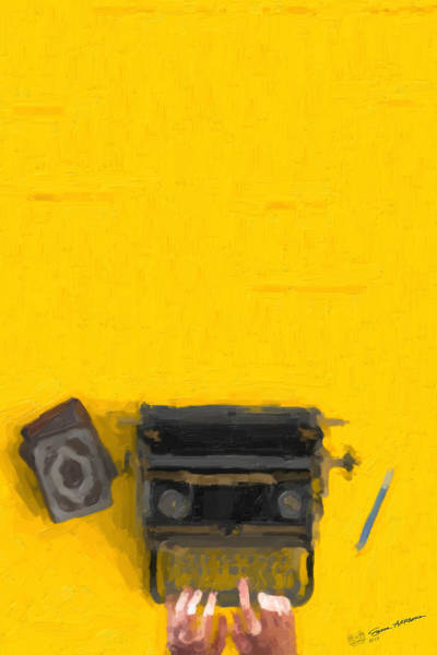 Digital Art - Hipster Worlds - Black Typewriter Over Yellow by Serge Averbukh