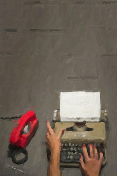 Digital Art - Hipster Worlds - Green Typewriter Over Gray by Serge Averbukh