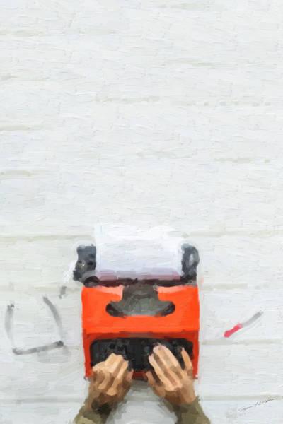 Digital Art - Hipster Worlds - Orange Typewriter Over White by Serge Averbukh