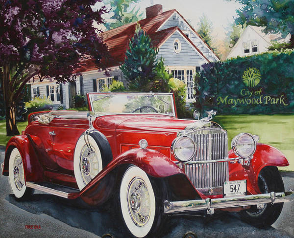 Collector Car Painting - His And Hers Packard 1932 by Mike Hill