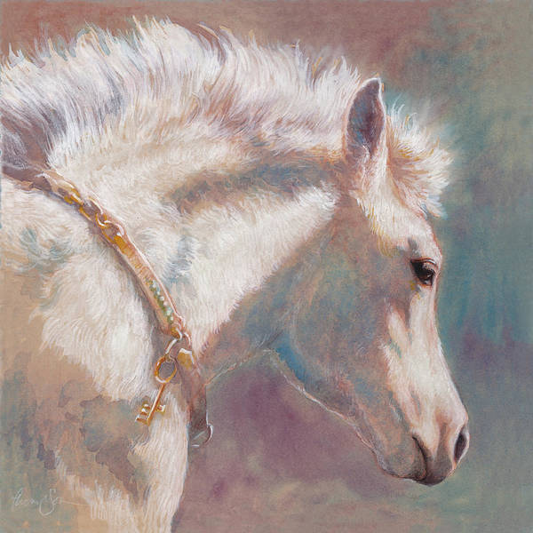 Foal Wall Art - Painting - His Coat Reflects The Sky by Tracie Thompson