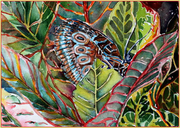 Wall Art - Painting - His Monarch In Green And Red by Mindy Newman