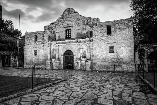 Photograph - Historic Alamo Mission - San Antonio Texas - Black And White by Gregory Ballos