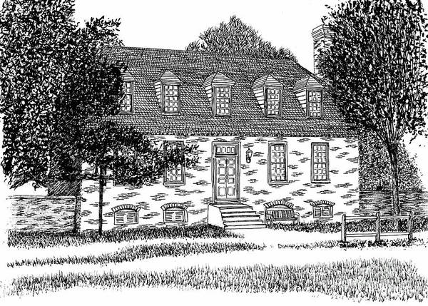 Reconstruction Drawing - Historic And Restored Red Lion Inn, City Of Williamsburg Virginia, Colonial District by Dawn Boyer