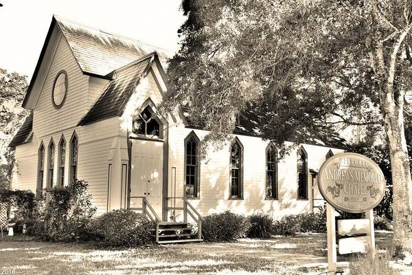 Photograph - Historic Andrews Memorial Chapel Dunedin Florida Black And White 2 by Lisa Wooten