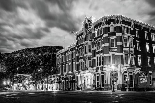 Photograph - Historic Downtown Durango Colorado Along Main Avenue - Black And White by Gregory Ballos