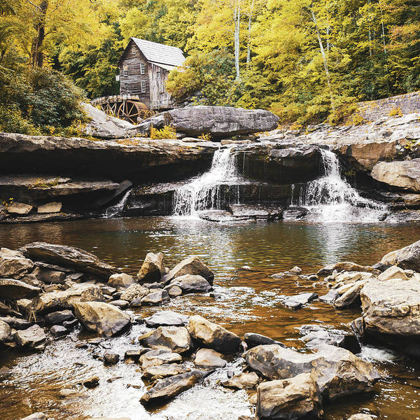 Photograph - Historic Glade Creek Grist Mill Autumn Landscape - Square Format by Gregory Ballos