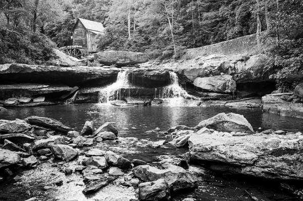 Photograph - Historic Glade Creek Grist Mill Monochrome Landscape by Gregory Ballos
