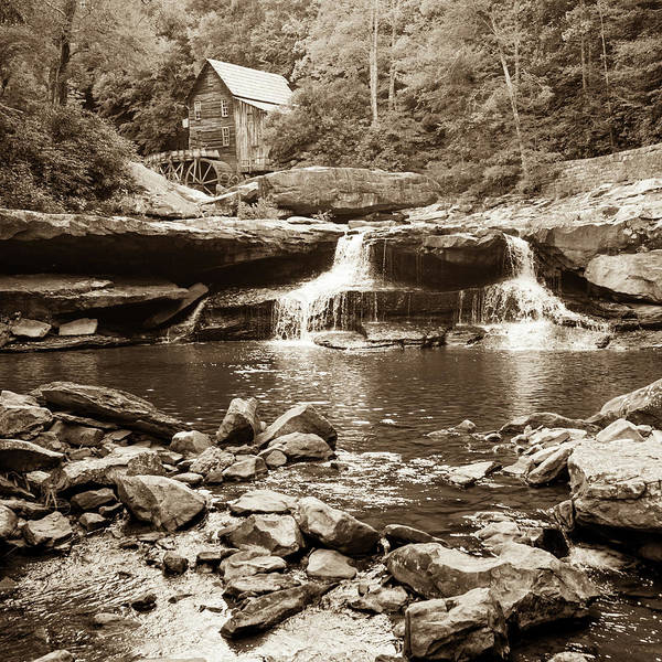Photograph - Historic Glade Creek Grist Mill Sepia Landscape - Square Format by Gregory Ballos