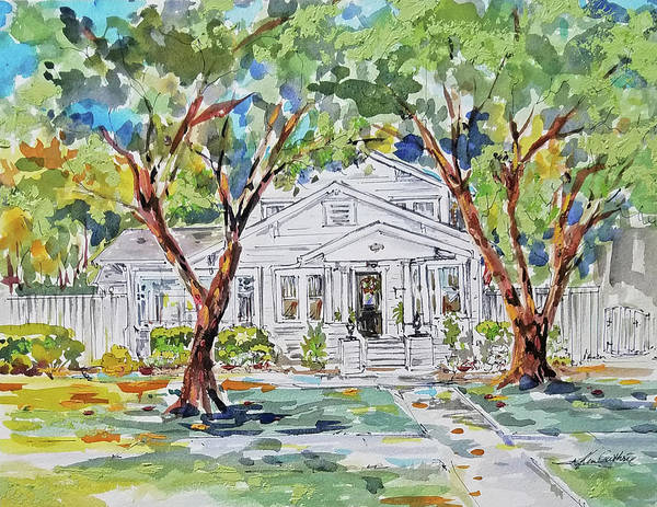 Wall Art - Painting - Historic Home Watercolor And Gouache Painting by Kim Guthrie