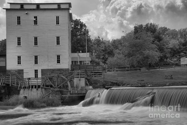 Photograph - Historic Mansfield Grist Mill Black And White by Adam Jewell