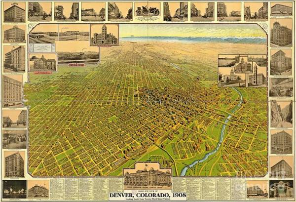 Wall Art - Photograph - Historic Map Of Denver by Pd