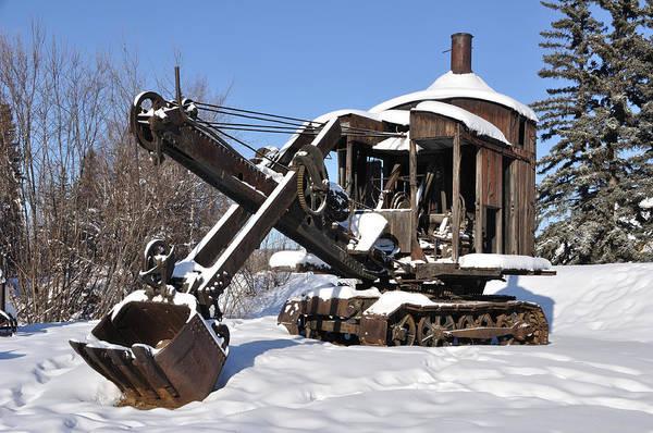 Historic Mining Steam Shovel During Alaska Winter Art Print