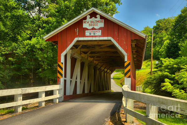 Somerset County Photograph - Historic New Baltimore Covered Bridge by Adam Jewell