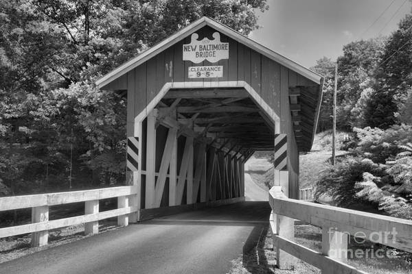 Somerset County Photograph - Historic New Blatimore Covered Bridge Black And White by Adam Jewell
