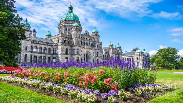 Wall Art - Photograph - Historic Parliament Building In Victoria With Colorful Flowers, Bc, Canada by JR Photography