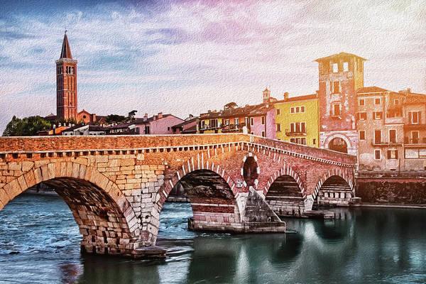 European Photograph - Historic Ponte Pietra Verona by Carol Japp