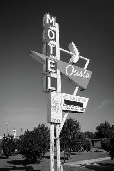 Photograph - Historic Route 66 Googie Neon Sign - Oasis Motel - Tulsa Oklahoma Usa - Black And White by Gregory Ballos