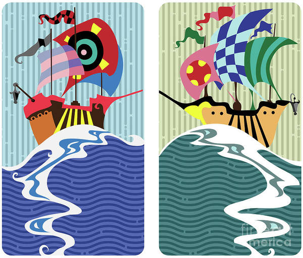 Digital Art - Historic Sail Boats,cartoon  by Ariadna De Raadt